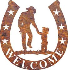 DXF CNC dxf for Plasma  Clip Art Vector Cowboy and child Welcome  Wall Art