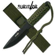 NEW Survivor Etch Military Survival Knife with Army Green Sheath/Strap HK7525