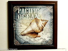 SEASHELL PICTURE PACIFIC OCEAN SEASCAPE MAP FRAMED PRINT 12X12
