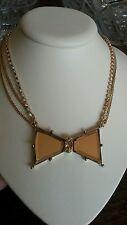 Betsey Johnson gold stone bow necklace