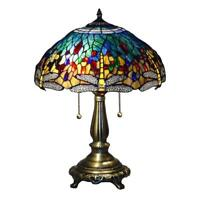"Tiffany Style Dragonfly Blue Table Lamp 23"" Shade Bronze Hand Cut Stained Glass"