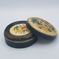 VTG 1946-52 Paper Mache Set of 8 Coasters & Box Made in Japan Hand Painted