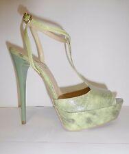 Nuevo-pumps tacón alto sandalias-talla 38 verde pitone-cuero auténtico Divine follie