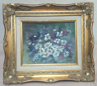 Original Art Painting Floral On Canvas Panel In 8x10 Victorian Gold Gilt Frame