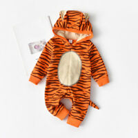 Cute Newborn Baby Girls Boys Cartoon Tiger Hooded Romper Jumpsuit Outfit Clothes