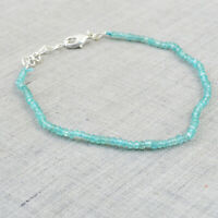 25.00 Cts Natural 8 Inches Long Blue Apatite Round Cut Beads Bracelet NK 48E48