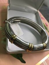 PARK LANE HINGED BANGLE BRACELET SILVER & GOLD TONE NEW WITH TAG NWT.
