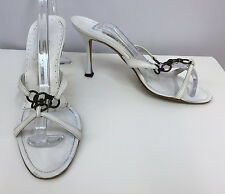 MANOLO BLAHNIK SANDALS SHOES WHITE LEATHER BRONZE RINGS SIZE 37