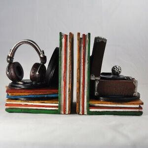 Record Player And Vinyl Shelf Tidy Retro Style Bookends (12516)
