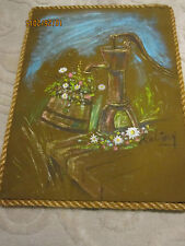 Vintage water pump painting & flowers on fabric with rope trim, signed Robinson