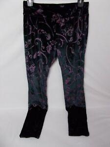 Hue Women's Velvet Floral Leggings Black/Purple Size XS