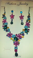Mixedcolour  Diamante Flower crystal Necklace & earrings set Silver colour chain