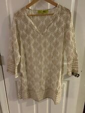 ROCK FLOWER PAPER Split Neck TUNIC Long Sleeve TOP, Small, Gold Leaf, EUC