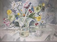"ORIGINAL ART Watercolor Painting Floral Joan Perry (1928-2019) 24"" Hx 18""W"