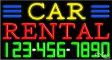 """NEW """"CAR RENTAL"""" W/YOUR PHONE NUMBER 37x20x3 NEON SIGN W/CUSTOM OPTIONS 15055"""