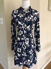 TOPSHOP Shirt Dress Vintage Floral Button Down Cat Print Long Sleeve Size 2