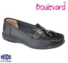 LADIES LEATHER Extra Wide EEE Fit Slip On Loafer Black Shoes  Size 3 4 5 6 7 8 9