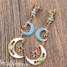 Ladies Enamel Crystal Stars Moon Earring Long Ear Drop Jewerly Fairy Pretty Gift