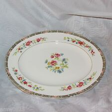 JOHN MADDOCK VINTAGE OVAL PLATTER FLORAL CENTER PINK BLUE ROYAL VITREOUS