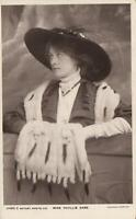1910 VINTAGE MISS PHYLLIS DARE with FOX FURS ROTARY PHOTOGRAPHIC POSTCARD - USED
