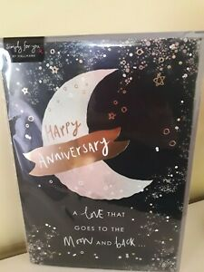 Happy Anniversary Card - A Love That  Goes To The Moon And Back FREE P&P