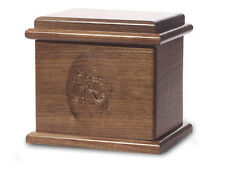 Wood Cremation Urn. Deluxe model with a Black Walnut Finish with Flying Geese