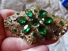3D Wave Very Large Brooch Sm20 Art Deco Stamped Filigree Gablonz Glass Green