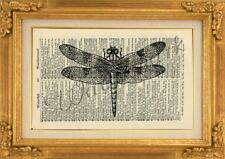 ORIGINAL - Dragonfly Art Print on Vintage Dictionary Page - Wall Art NO.502B