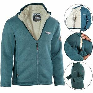 Mens Padded Borg Sherpa Fleece Lined Jacket Heavy Warm Full Zip Hiking Cardigan