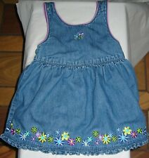 Gymboree Girl's Blue Denim Jumper Embroidered Flowers Ruffled Hem Sz 12-18 Mos
