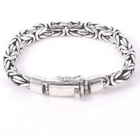 UNISEX  8 MM  Solid 925 Sterling Silver BYZANTINE Chain Bracelet