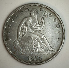 1875 Seated Liberty Half Dollar Silver US Type Coin Almost Uncirculated AU 50c