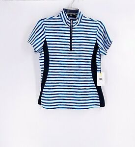 Tail Activewear Golf Shirt Women's Small Watercolor Lines Striped NWT 1/2 Zip