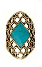Lucky Brand Ring Diamond Shape Turquoise Antique Gold Tone Size 7 Gift Box $35