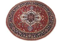 8X8 Round Serapi Area Rug Hand-Knotted & Veg Dyed Wool Oriental Carpet