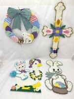 4 Handmade Yarn Easter Decor Decorations Eggs Goose Bunny Flowers Plastic Canvas