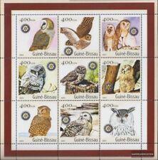 Guinée-bissau 1437-1445 Feuille miniature neuf avec gomme originale 2001 Oiseaux