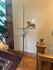 Very Nice Antique Lightning Rod Stand w/Arrow, Quilted Ball & Twisted Copper Rod