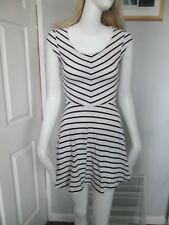 H&M DIVIDED,WHITE, BLACK STRIPED, V-NECK, C/SLEEVED,MINI DRESS SIZE 8