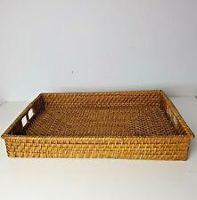 Vintage Wooden Wicker Rattan Tray Breakfast Tray Basket Boho Tiki