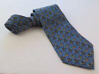 Salvatore Ferragamo 100% Silk Blue Geometric Design Necktie Made in Italy EUC