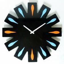 Mid Century Modern Black Enamel Starburst Wall Clock