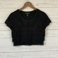 White House Black Market Cap Sleeve Fringed Cropped Sweater S Black Open Front