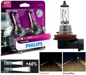 Philips VIsion Plus 60% H11 55W Two Bulbs Head Light Low Beam Replacement Stock