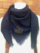 GOLDEN GOOSE DELUXE BRAND ROYAL BLUE/BLACK EXTRA LARGE WOOL SCARF MADE IN ITALY