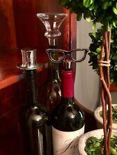Pottery Barn Bottle Bar Wine Stopper Topper Silver Top Hat