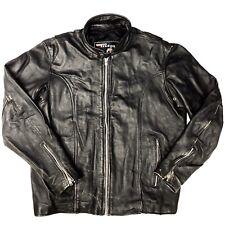 Vtg Mega Force Black DISTRESSED Heavy Leather Jacket Motorcycle Biker Coat 46