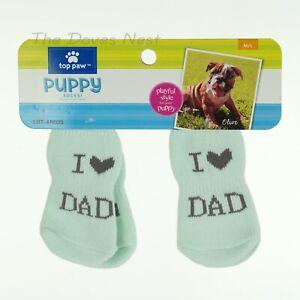 "TOP PAW Size M/L Gray & BLUE ""I LOVE DAD"" PUPPY SOCKS Dog Socks NON-SLIP PADS"