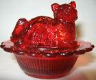 Ruby red glass Cat kitten on nest basket mini salt cellar dip kitty Easter celt