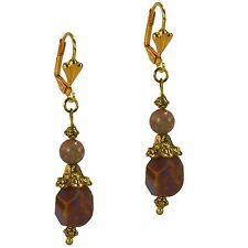 Antiqued Vintage Style Gold Dangle Beaded Fashion Earrings Brown Agate